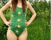 1990's Juicy Lemon Pattern Print Swimsuit/Leotard Women Bodysuit
