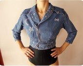 Vintage 80's Denim jacket  Biker jacket with studs