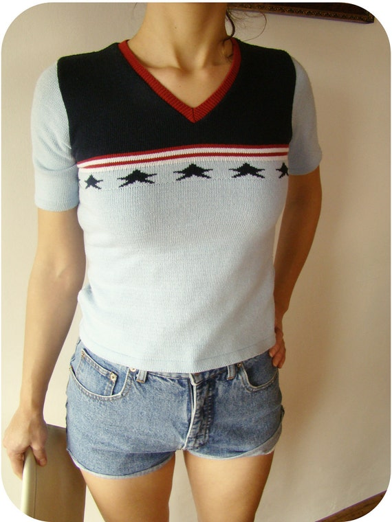 SALE Vintage 80's American Flag Knit Blouse Knitted Top stars knit