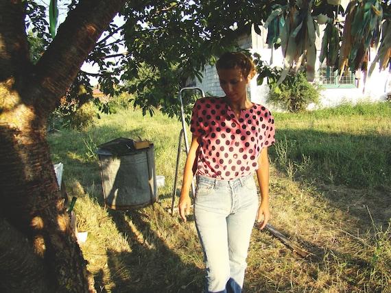 Vintage Pink Polka dot print Button down T shirt womens top/blouse /tee
