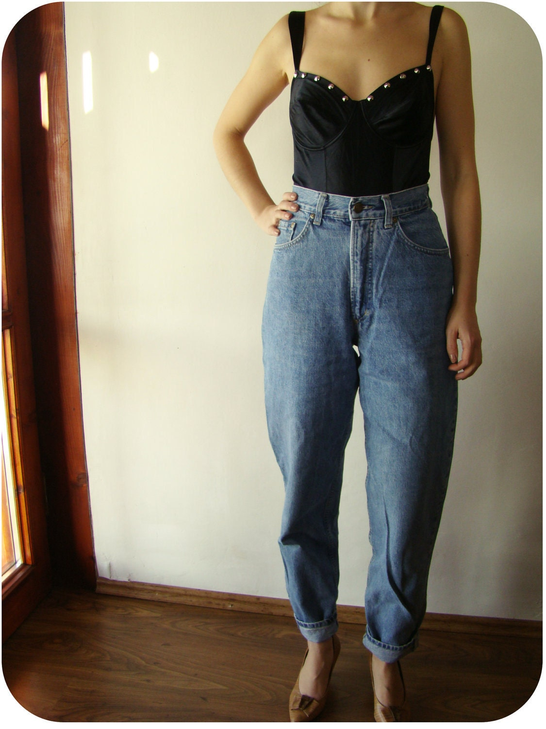 vintage high waist baggy jeans denim pants. Black Bedroom Furniture Sets. Home Design Ideas