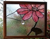 Stained Glass Panel - Pink Flower with Dew Drop