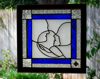 New Baby Family - Custom Stained Glass Panel