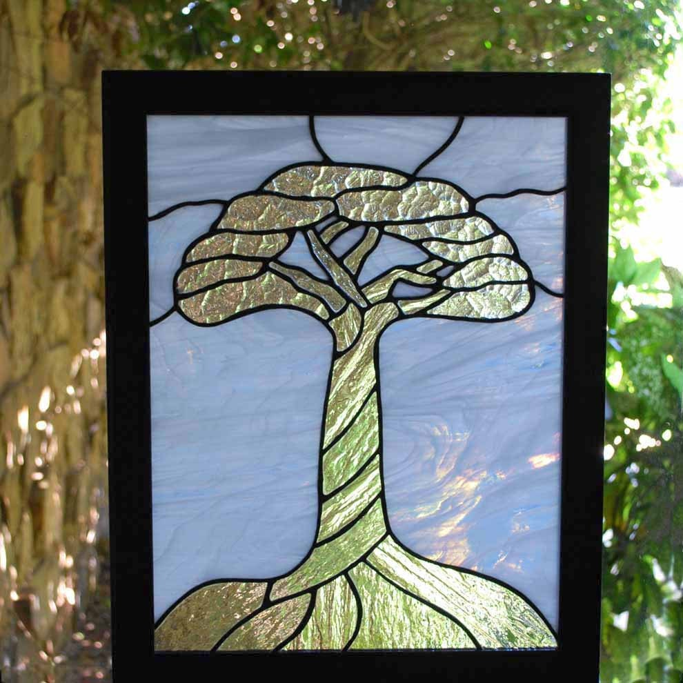 Stained glass panel tree of life
