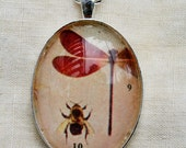 Vintage dragonfly pendant necklace mid century red insect 1960's photo collage jewelry