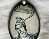 Woman thinking dictionary pendant original midcentury collage