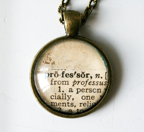 Professor pendant necklace - upcycled vintage dictionary