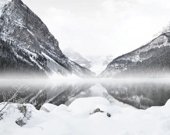Lake Louise Photography Print Fine Art Banff Canada Mountains Black and White  Rustic Clouds Fog Winter Landscape Photography Print.