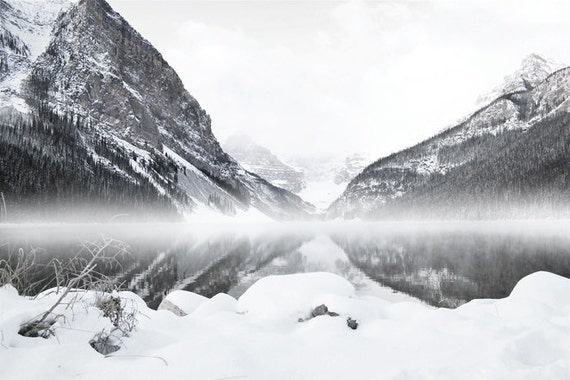 Lake Louise Photography Print 12x18 Fine Art Banff Canada Mountains Black and White  Rustic Clouds Fog Winter Landscape Photography Print.