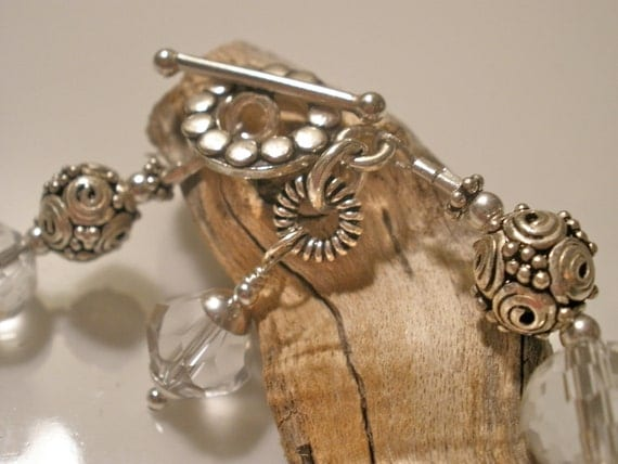 Crystal Clear Lampwork with Cut Glass Sterling Silver Beaded Bracelet