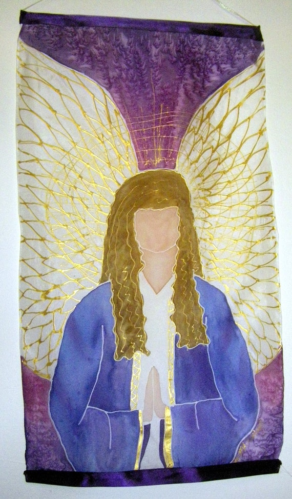 SALE Archangel Sandalphon handpainted silk wall hanging