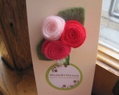 Red Valentines Day Roses Felt Flower Hair Clip