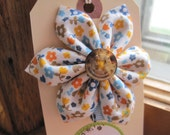 Organic Fabric Back To School Flower Hair Clip