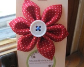 Kanzashi Christmas Red Fabric Flower Hair Clip