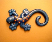blue mexican hand painted gecko decor