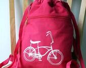 Vintage Bike Backpack Canvas Screen Printed