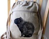 Capybara Screen Printed Canvas Backpack
