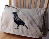 Crow Screen Printed Messenger Bag