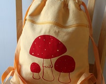 Mushroom Canvas Screen Printed Backpack