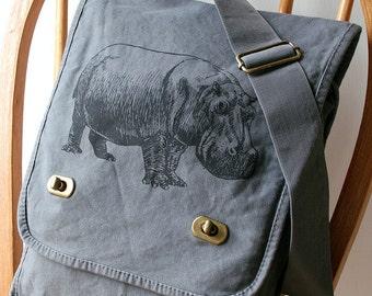 Hippopotamus Canvas Field Bag Messenger Bag