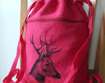 Deer Backpack Canvas Screen Printed Laptop Bag School Bag