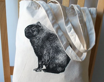 Capybara Screen Printed Canvas Tote Bag