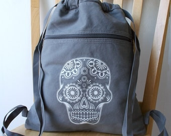 Day of the Dead Canvas Backpack Laptop Bag