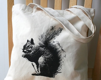 Squirrel Tote Bag Screen Printed Canvas