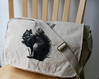 Squirrel Canvas Messenger Bag