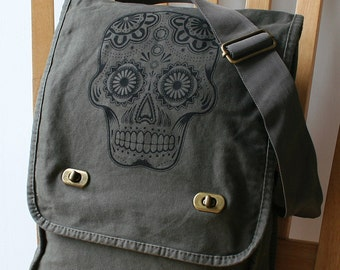 Day of the Dead Screen Printed Messenger Bag Canvas Bag for Men