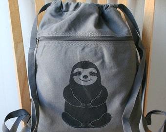 Sloth Canvas Backpack Laptop Bag Book Bag