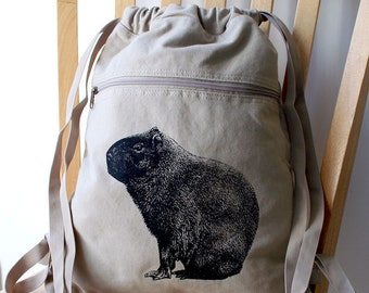 Capybara Screen Printed Canvas Backpack