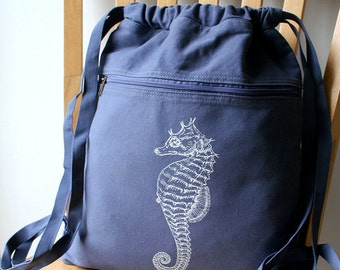 Seahorse Backpack Canvas Screen Printed