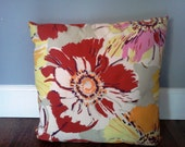 Large Floral Print Throw Pillow