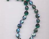 Dazzling vintage crystal necklace - 12 mm emerald aurora borealis art 5101 Swarovski crystals