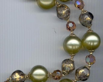 Vintage chunky lucite and crystal necklace - light olive, gold, and light smoked topaz