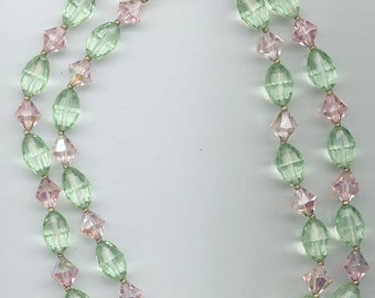 Lovely 2-strand vintage Czech crystal necklace -- rare light pink and green Czech crystals