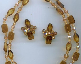 Vintage double-stranded necklace and earrings -- Czech glass window beads and Swarovski crystals in golden browns
