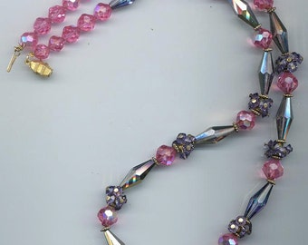 Amazing and awesome vintage Swarovski crystal necklace - fantastic design - heliotrope, cardinal, and rose crystals