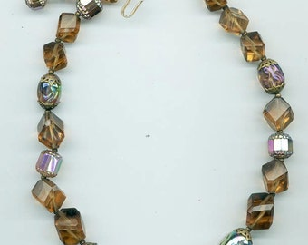 Pretty vintage Trifari necklace with gorgeous rich  brown glass and crystal beads