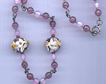 Out-of-this-world vintage Czech pendant necklace -- intricate lampwork glass pendant and beads
