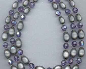Dazzling 3-strand vintage Marvella necklace - cardinal AB Swarovski crystals and silvery grey moonglow lucite