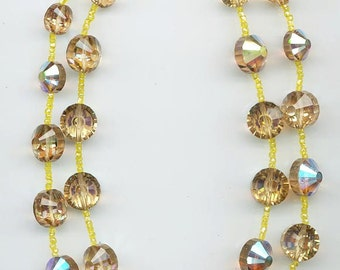 Dazzling 2-strand very Vendome-like vintage crystal necklace - light colorado topaz AB crystals spaced with lemon yellow seed beads