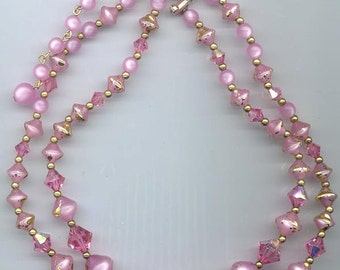 Gorgeous 2-strand vintage necklace in beautiful pinks - gold-splashed lucite beads