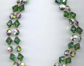 Gorgeous 2-strand vintage necklace - an abundance of rare Swarovski green turmaline AB and vitrail medium crystals.