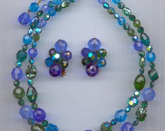 Awesome 2-strand vintage glass bead necklace and earring set signed Carnegie - glass and crystal beads in shades of green and blue