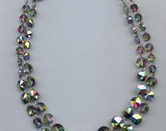 Glittering 2-strand vintage necklace - Swarovski rivoli crystals in the rare effect color vitrail medium