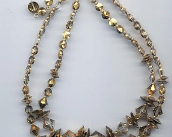 Beautiful 2-strand vintage crystal necklace - three shapes of Swarovski comet OR crystals
