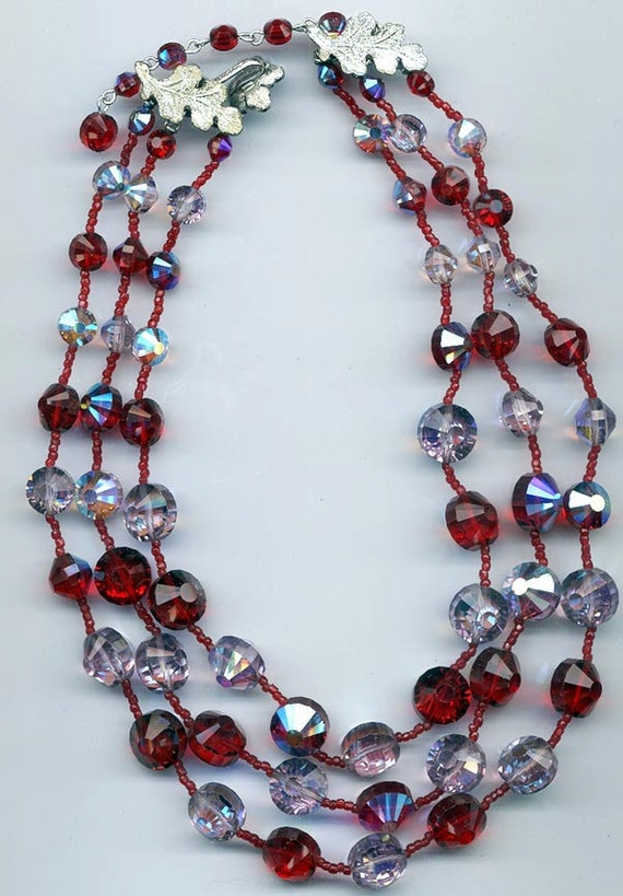 Gorgeous 3-strand vintage Vendome necklace -- all 5101 Swarovski crystals in light siam red and light amethyst AB