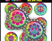 INSTANT DOWNLOAD Groovy Peace Flowers  Bottle Cap Images - 4x6 Digital JPEG BottleCap Collage Sheet - 1 Inch Circles